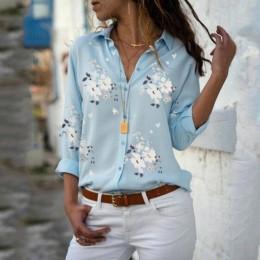 Blusas Tops para mujer 2019 otoño elegante manga larga estampado cuello en V blusa de chifón mujer ropa de trabajo Camisas talla