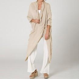 2019 Celmia tallas grandes mujeres Tops y Blusas Vintage Camisa larga Casual cuello redondo manga larga suelta asimétrica Blusas