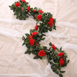 Artificial Rosa flor falso colgante decorativo rosas vid plantas hojas artificiales guirnalda para flores decoración de la pared