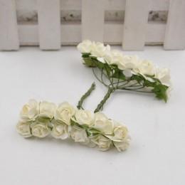 12 unids/lote flor Artificial Mini Linda rosa de papel hecha a mano para boda guirnalda de bricolaje decoración regalo Scrapbook