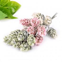6 unids/lote de flores artificiales de hierba de piña planta falsa para la decoración de la Navidad de la boda DIY artesanía dec
