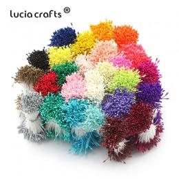 Lúcia artesanías 900 unids/lote mezclado al azar doble cabezas DIY Artificial Mini perla flor estambre de pistilo 1mm estambre F