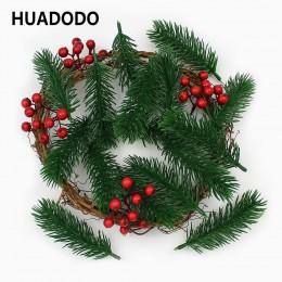 Huadido 10 piezas agujas de pino Artificial plantas falsas ramas flores artificiales para decoraciones de árboles de Navidad acc