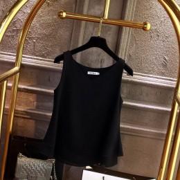 2019 Blusa de mujer de marca de moda Camisa de gasa sin mangas de verano Blusa casual con cuello en V sólido Talla grande 5XL To