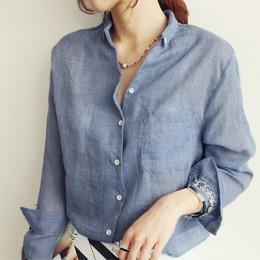 Chemisier Femme Mujer Tops moda 2018 otoño Lino camisa blanca mujer Blusa de manga larga Mujer coreana ropa rupas Femininas