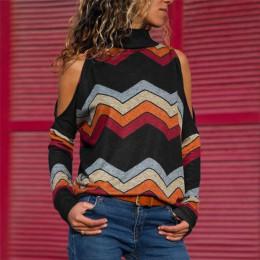 Blusas de Mujer Blusas sexis con hombros descubiertos Casual de cuello alto tejidas Jersey estampado camisa de manga larga Blusa