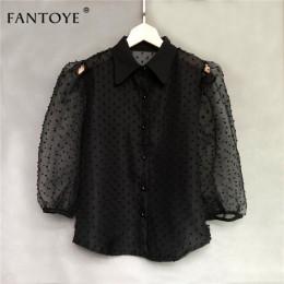Fantoye 2019 verano Mujer Blusa de gasa camisa Sexy transparente malla bordada manga Puff mujer Oficina camisas señora Blusa tra