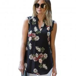 Moda Vintage estampado Floral blusa camisa 2019 verano sin mangas gasa blusa Sexy cuello en V mujeres Camisas Casual suelta Chem