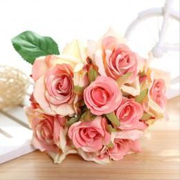 1 ramo de rosas artificiales, flores decorativas de seda, ramos de novia para la decoración del hogar de la boda, suministros de