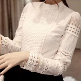 2019 blusa de chifón de encaje para mujer camisa de talla grande Casual de manga larga para Mujer Tops y blusas S-5XL gancho flo