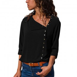 Blusa de ocio 2019 Blusas y Blusas de manga larga de moda para mujer camisa de oficina sólida cuello sesgado Blusas camisa Casua