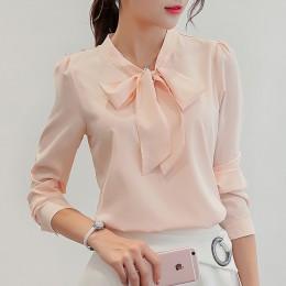 Harajuku nueva blusa de verano de primavera para mujer camisas de manga larga de moda camisa de chifón de ocio arco Oficina seño