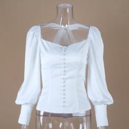 OOTN Collar cuadrado túnica blanca, blusa de las mujeres, camisa de mujer elegante 2019 verano Sexy Puff Tops de manga de oficin