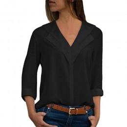 Blusa blanca de manga larga de ocio Blusa doble cuello en V para mujer Blusas y Blusas Camisa de oficina sólida blusa de señora