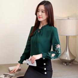 Talla grande mujeres tops floral bordado gasa blusa camisa moda mujeres tops y blusas 2019 manga larga Mujer camisa 1645 50