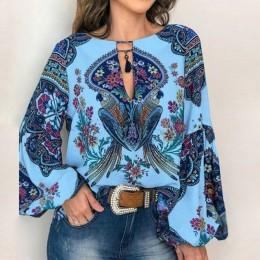 VIEUNSTA 2019 blusa Boho estampado Floral linterna manga camisa Sexy encaje-up Tassel cuello O blusas para mujer Primavera Veran