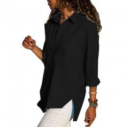 Camisa Irregular de gasa de oficina para mujer Top negro blanco rojo de manga larga blusa femenina 2019 camisetas de verano más
