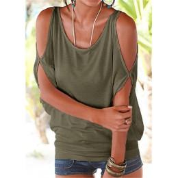 Blusas de mujer 2019 verano Casual Sexy fuera del hombro blusa camisa Batwing manga corta encaje arriba sólido cuello redondo To