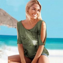 2019 blusas de verano para mujer Casual de manga corta Tops camisetas Sexy de hombro cuello redondo pluma estampado blusa camisa