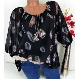 Moda 5XL más blusas de talla grande para Mujer Tops de verano nueva blusa de ocio blanco suelta pluma estampado cuello en V medi