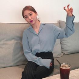 Blusas y tops para mujer Blusa de gasa blanca sólida blusa de oficina blusas mujer de moda 2019 camisetas de manga larga para mu