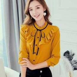 Primavera otoño 2019 mujer camisa blanca de manga larga camisas coreanas volantes Mujer ropa de calle delgada Blusa de gasa eleg