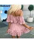 BeAvant Vestido corto plisado con volantes de verano de gasa con tiras al hombro Rosa elegante vacaciones suelto mini Vestido de