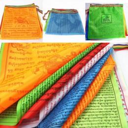 Banderas religiosas Budista Tibetano suministros de color Impresión de bandera de oraciones de seda Artificial el pulmón Ta Bann