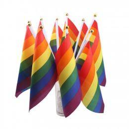2019 colorido LGBT Arco Iris bandera lista ligero poliéster banderas de paz lesbianas Gay desfile Banners accesorios de decoraci