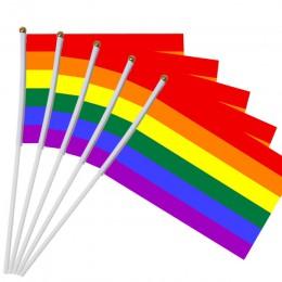 Bandera de palo de 5 uds. UU. 14*21 cm Mini Bandera de mano con banderas de mástil blanco de colores vivos y resistentes al desv