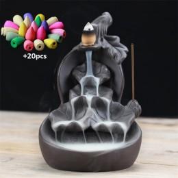 Púrpura arcilla calabaza loto cascada incienso quemador Stick titular Censer Aroma humo reflujo quemador de incienso decoración