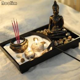 NOOLIM estatua de resina de Buda Zen meditación tranquilidad decoración conjunto de bandeja para arena de jardín Zen espiritual