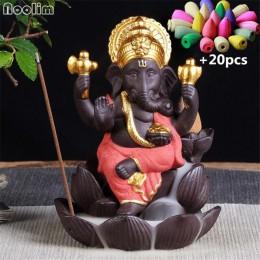 Quemador de incienso de reflujo de Ganesha emblema de Dios de elefante óspito y éxito de cerámica incensario para Cono decoració