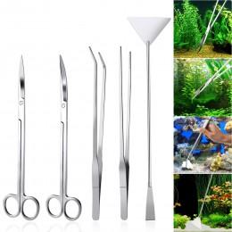 5 En 1 DE ACERO INOXIDABLE acuario Aquascaping Kit acuario tanque plantas acuáticas juegos de herramientas pinzas espátula de ti