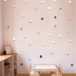 50 unids/set DIY espejo acrílico punto pegatinas de pared calcomanías hogar salón decoración 2cm forma redonda baño pegatinas En