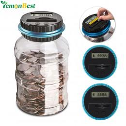 1.8L Banco contra la moneda electrónica Digital LCD recuento de monedas y ahorro de dinero de la caja de monedas caja de almacen
