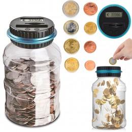 Alcancía de 1.5L contador de monedas electrónico Digital LCD recuento de monedas y ahorro de dinero caja para EURO tarro de mone