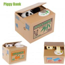 Blanco/amarillo gato Panda Moneda de robo automático gato gatito monedas Penny Cents alcancía Caja de Ahorro caja de dinero chic