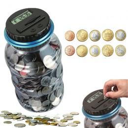 Contador electrónico de alcancía moneda 1.8L Digital LCD recuento de monedas y ahorro de dinero caja tarro monedas caja de almac