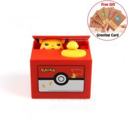Caja de dinero electrónica de alta calidad Pokemon Pikachu hucha robo moneda automáticamente para los niños amigos cumpleaños re
