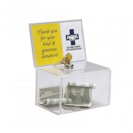 Caja de colección de donativos acrílicos de contador, caja de recaudacion de fondos de plata de Perspex con cerradura para igles