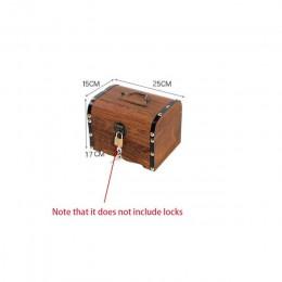 Alcancía Vintage, caja de monedas de madera hecha a mano con cerradura para niños, caja de papel y monedas de gran capacidad, ca
