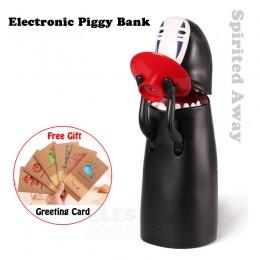 Nueva caja con dinero de plástico hucha electrónica Spirited Away, sin rostro comer moneda automáticamente para los niños cumple