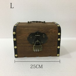 Alcancía Retro contraseña manual de madera cerradura de cobre niños caja de monedas de gran capacidad billetes y monedas caja de
