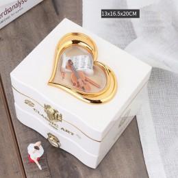 Caja de música de Piano giratoria clásica bailarina caja de joyería de plástico mecánica niñas manivela de mano mecanismo de mús