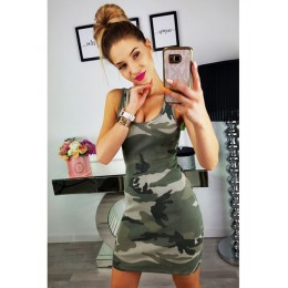 2019 nuevo verano moda mujer Sexy tanque delgado vestido Casual camuflaje militar cuello redondo estampado empalme imperio Mini