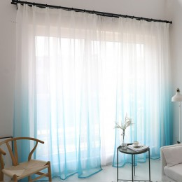 Cortinas modernas de tul con degradado de color para ventana para sala de estar cortinas de gasa de organza para decoración de H