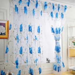 Vid hojas de puerta de la ventana cortina Panel bufanda pura cenefas cortinas en la sala de Decoración de casa de pura gasa cene