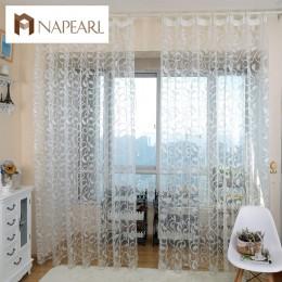 Cortina de ventana transparente de diseño floral jacquard estilo americano napeel para dormitorio tela de tul sala de estar mode