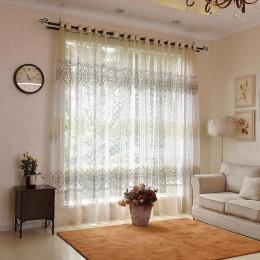Cortinas velos de tul modernas florales ENHAO para sala de estar, cocina, Voile, cortinas transparentes para cortinas de tul par
